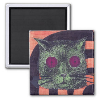 Clock-Eyed Cat Face (Orange/Black/Green) Magnet
