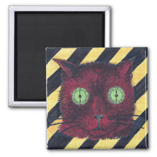 Clock-Eyed Cat Face (Yellow/Black/Red) Magnet