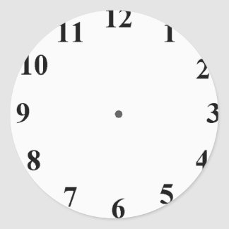 Clock Face Classic Round Sticker
