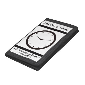 Clock Face with Hands Trifold Wallets