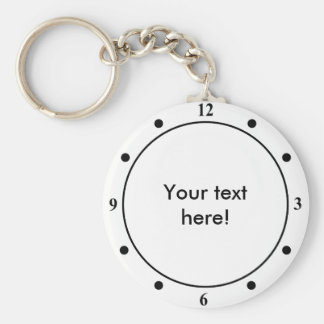 Clock face with personalized text keychain