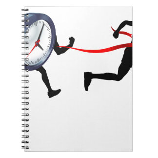 Clock Finish Line Race Man Concept Notebook