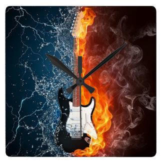 (CLOCK)FIRE & ICE GUITAR SQUARE WALL CLOCK