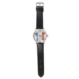 Clock  for Patriots of France (Black Leather) Watch
