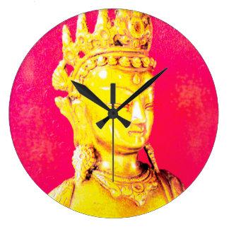 Clock (large) Buddha pink one