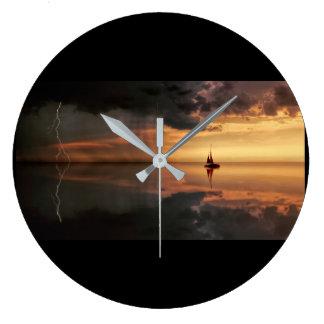 clock, large, round, distant rain storm, grey hand large clock