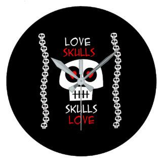 Clock Love Skulls