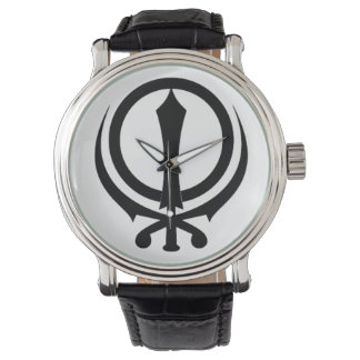 "Clock man black leather Vintage ""Adi Shakti "" Watch"