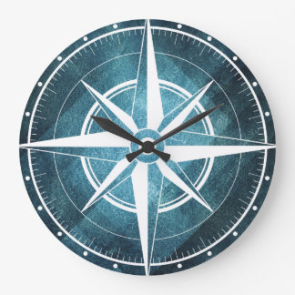 Clock of wall bluish compass