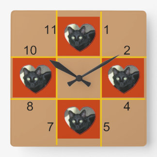 Clock - Pet patchwork (red heart)