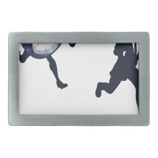 Clock Race Business Man Concept Rectangular Belt Buckle