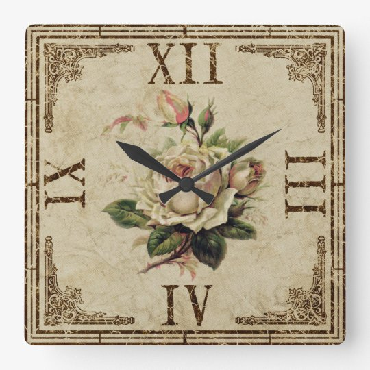 "Clock Square Vintage Shabby Look  ""Rose"" natur"
