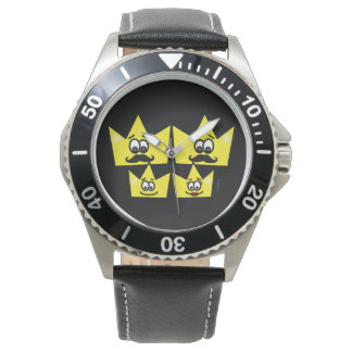 Clock Stainless Steel Black Leather - Gay Family Wrist Watches