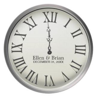 Clock Strikes Midnight New Year's Eve Plate