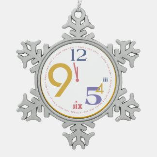 Clock Strikes Twelve - Snowflake Pewter Christmas Ornament