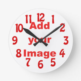 Clock template - Fun Red - Add your Image