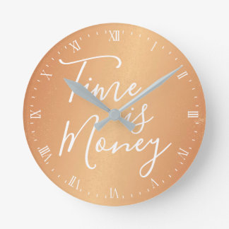 Clock - Time is Money Copper