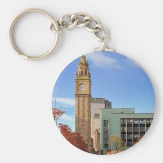 Clock tower in Belfast Basic Round Button Keychain