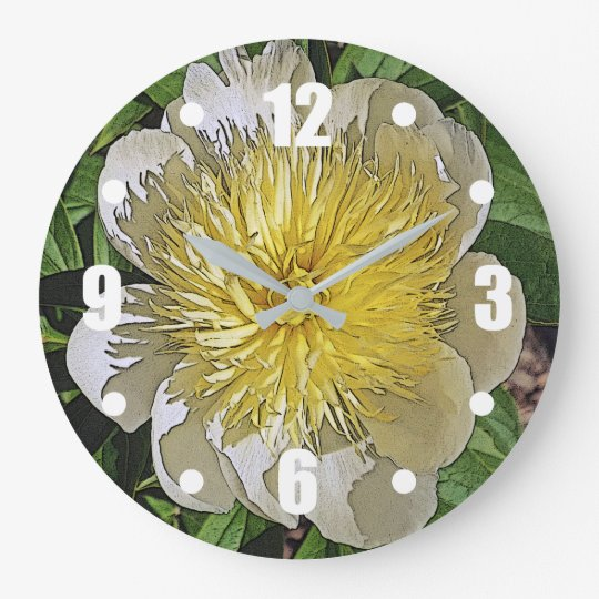 CLOCK/ WHITE PEONY WITH YELLOW CENTER. LARGE CLOCK