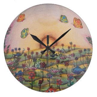 Clock with artwork: surreal landscape