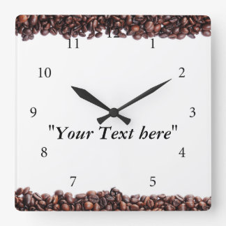 Clock with coffee beans motive and text field