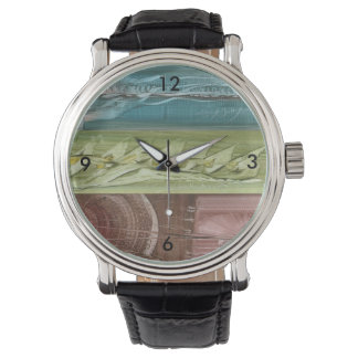 Clock with colored modern art watch
