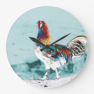 clock with multicolored cock