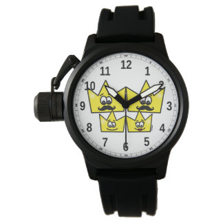 Clock with Protector of Crown Bracelet Rubber Wrist Watch
