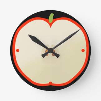 Clock with red apple form