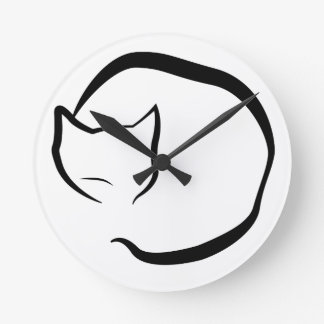 Clock with sleeping cat in four lines