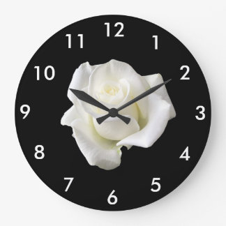 clock with white rose