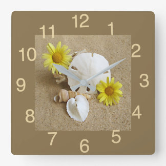 Clock with Yellow Daisies and Seashells