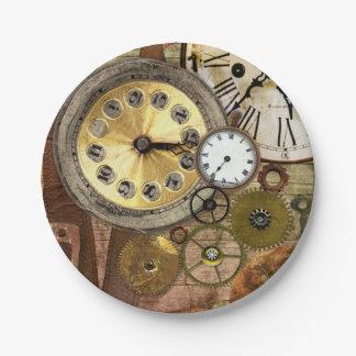 Clocks Rusty Old Steampunk Art 7 Inch Paper Plate
