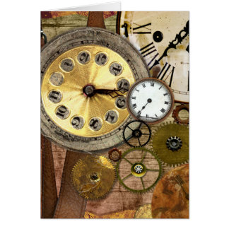 Clocks Rusty Old Steampunk Art Card