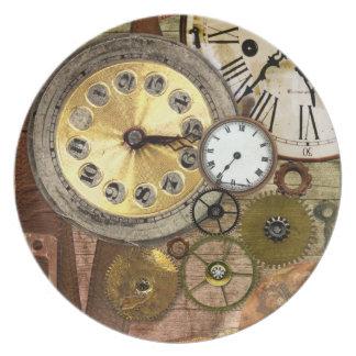 Clocks Rusty Old Steampunk Art Plates