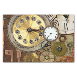 Clocks Rusty Old Steampunk Art Tissue Paper