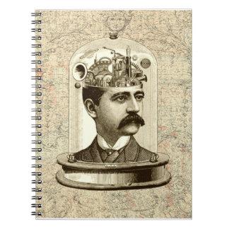 Clockwork Brain STEAMPUNK vintage Notebook