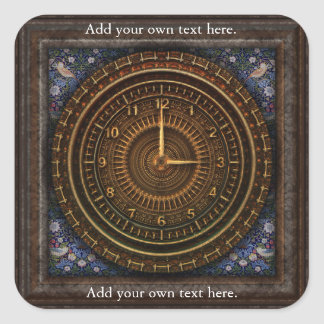 Clockwork Clock Time Steampunk Victorian Square Sticker