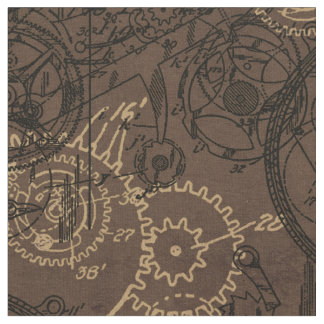 Clockwork Collage Brown Fabric
