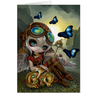 """Clockwork Dragonling"" Postcard Greeting Card"