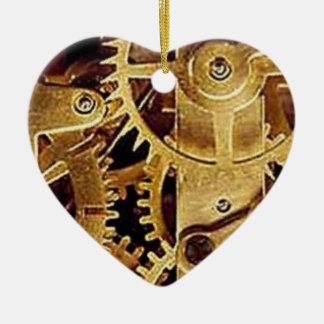 clockwork MECHANISM CLOCK Ceramic Heart Ornament
