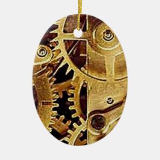 clockwork MECHANISM CLOCK Ceramic Oval Ornament