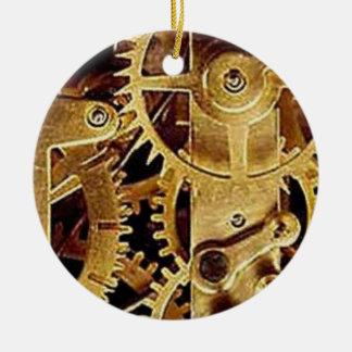 clockwork MECHANISM CLOCK Round Ceramic Ornament