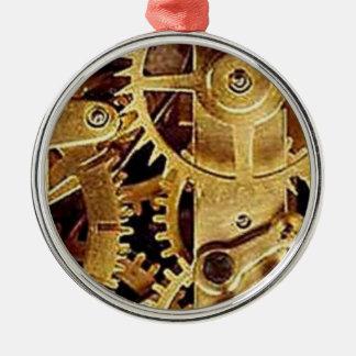 clockwork MECHANISM CLOCK Silver-Colored Round Ornament
