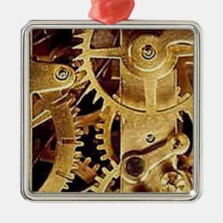 clockwork MECHANISM CLOCK Silver-Colored Square Ornament