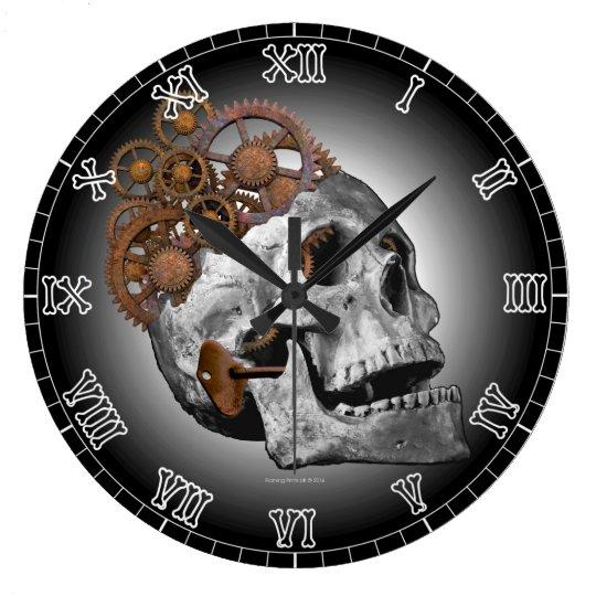 Clockwork Skull Cogs Steampunk Skeleton Gothic Large Clock