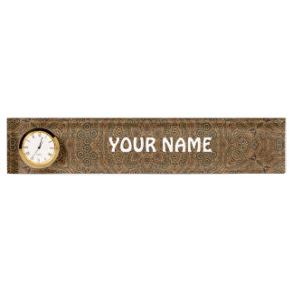 Clockwork Vintage Desk Nameplate with Clock