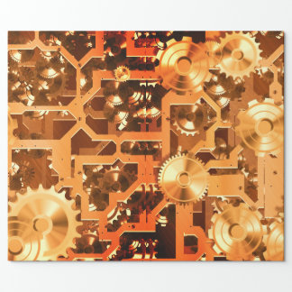 Clockworks Bronzed Look Nostalgic Wrapping Paper