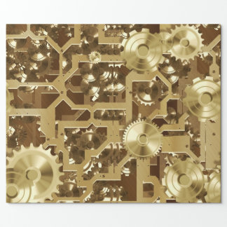 Clockworks Gold Wrapping Paper