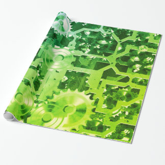 Clockworks Green Patina Nostalgic Wrapping Paper